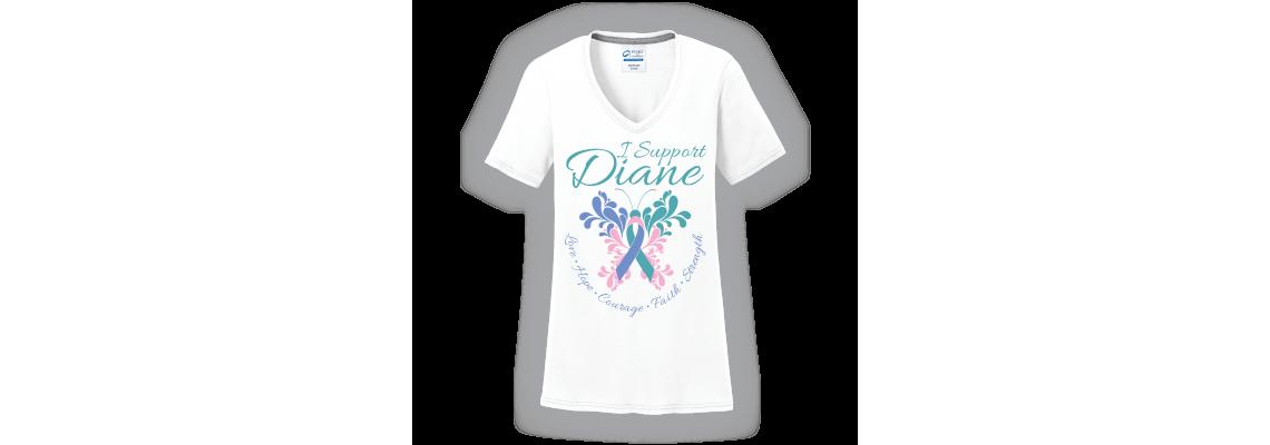 I Support Diane Butterfly White V-Neck